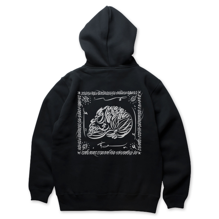 画像1: USUGROW / LIFE SKULL BLACK ZIP UP HOODIE (1)