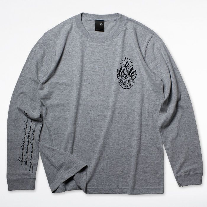 画像1: USUGROW / FUTURE SKULL LONG SLEEVE GREY TEE (1)